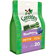 Greenies Blueberry Flavor Petite Dog Dental Chews - 12 Ounces 20 Treats