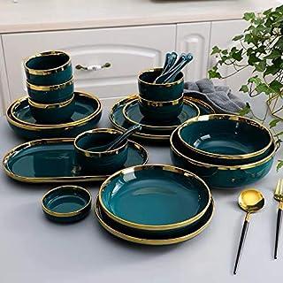 WZHZJ Dinos de porcelaine en porcelaine blanche Ensemble plaque de cuisine Vaisselle céramique Vaisselle Plats de cuisine ...