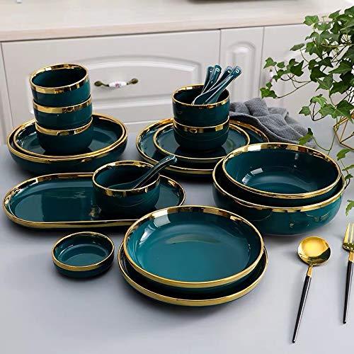 XXDTG Gilt Rim Blanco Placa de Porcelana Placa de Placa de Cocina Placa de cerámica Vajilla Cerámica Placas de Comida Ensalada de arroz Fideos Taza Taza Cubiertos (Color : D)