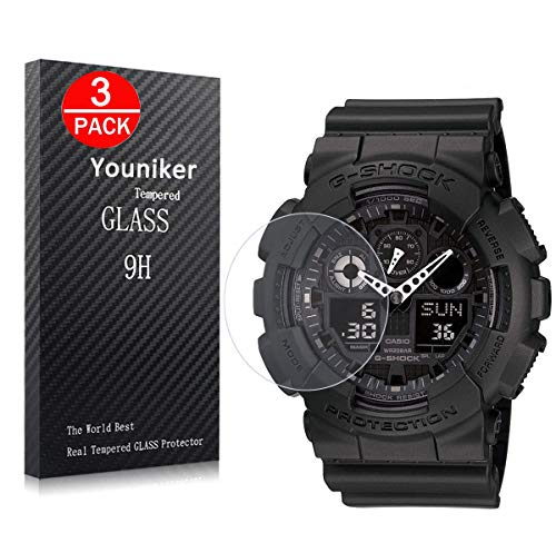 Youniker 3 Pack Voor Casio GA100 Screen Protector Gehard Glas Voor Casio G Shock mannen GA100 Horloge Screen Protector Foils Glas 9H Hardheid 0.3MM Slim Anti-Scratch Anti-Vingerafdruk Bubble Free