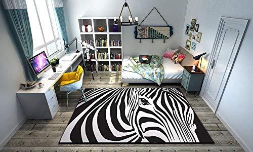 Semplice tappeto zebrato geometrica con motivo a zebra, tappeto da camera da letto, zona antiscivolo, tappetino da bagno, tappetino da gioco per yoga-zebra_100cmx160cm