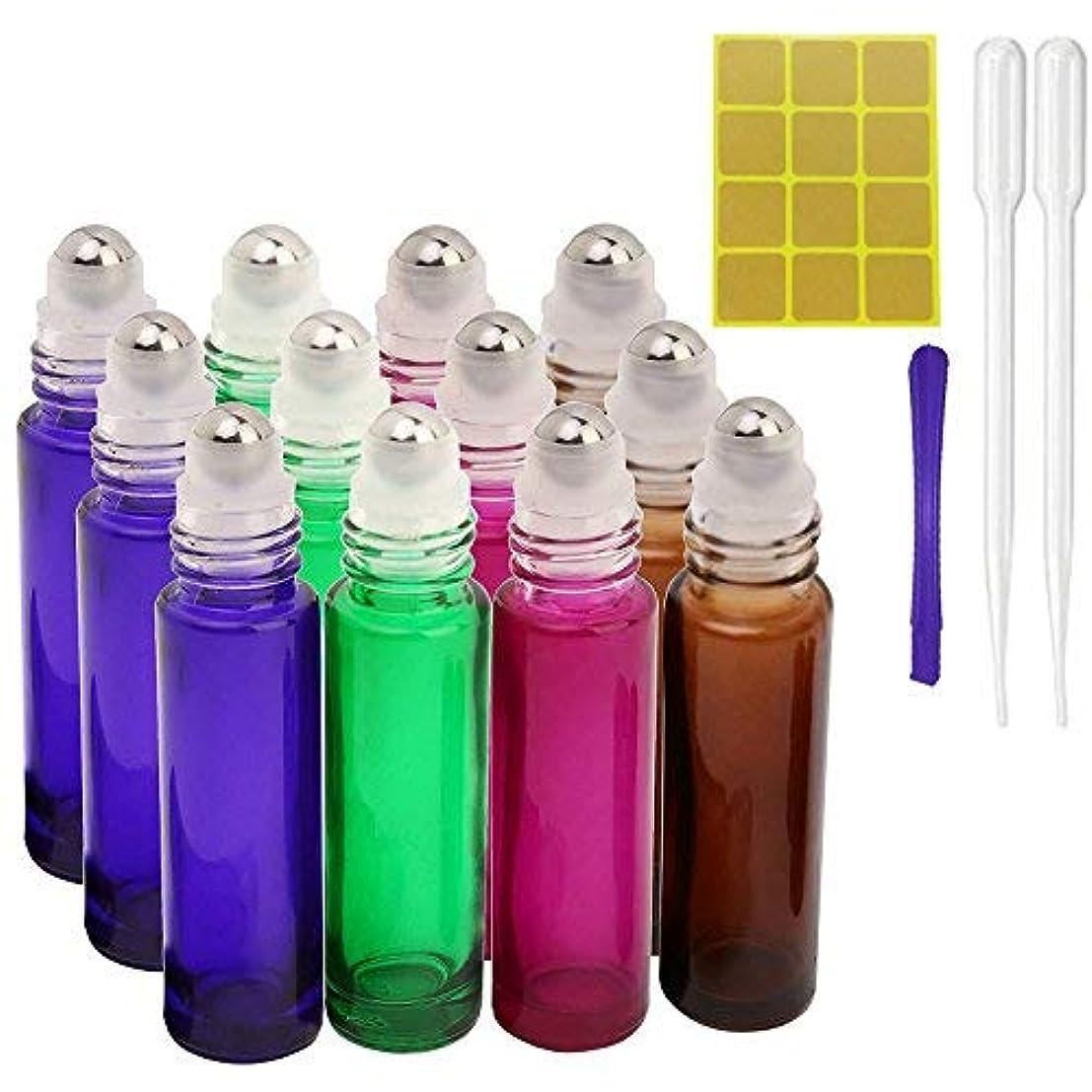 快適平和的おいしい12, 10ml Roller Bottles for Essential Oils - Glass Refillable Roller on Bottles with 1 Opener, 2 Droppers, 24 Pieces Labels, Suitable for Aromatherapy, Essential Oils By JamHooDirect (4 Colors) [並行輸入品]