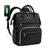 Laptop Backpack for Women Work Laptop Bag Stylish Teacher Backpack Business Computer Bags College Laptop Bookbag, Embroidery Black