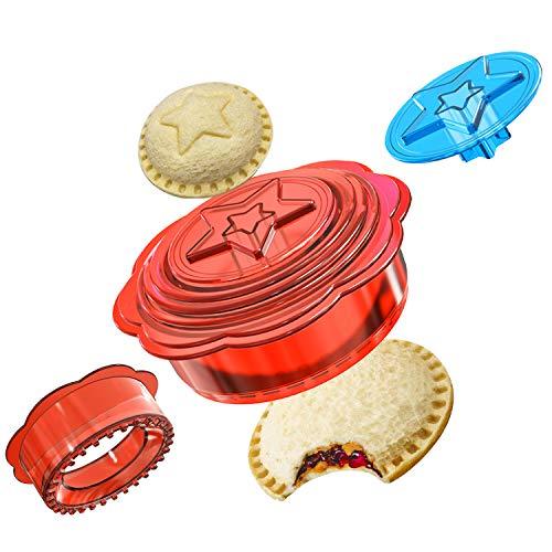 Sandwich Ausstecher, 6-In-1 Brot Ausstecher Set, Sandwich Ausstecher für müheloses Schneiden, für Kinder, Jungen und Mädchen Mittagessen als Bento Box Zubehör (Rot)