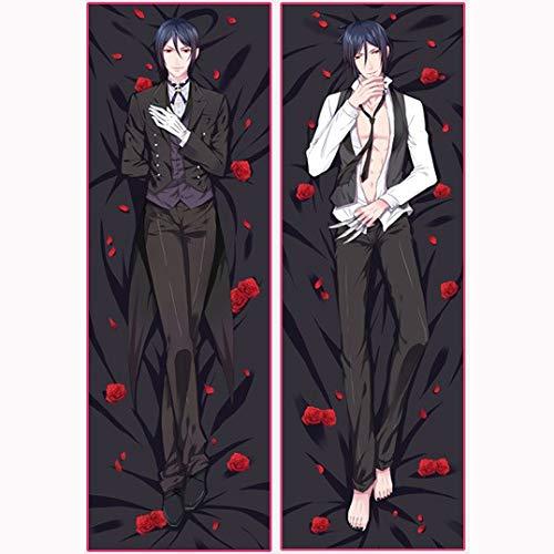 Fvfvfv Black Butler: Sebastian Michaelis Anime Pillow Cover/Body Pillowcase, Anime Housekeeper Double-Sided Pattern Throw Pillow Case, for Home Sofa Decorative Fujoshi and Anime Fans' Favorite