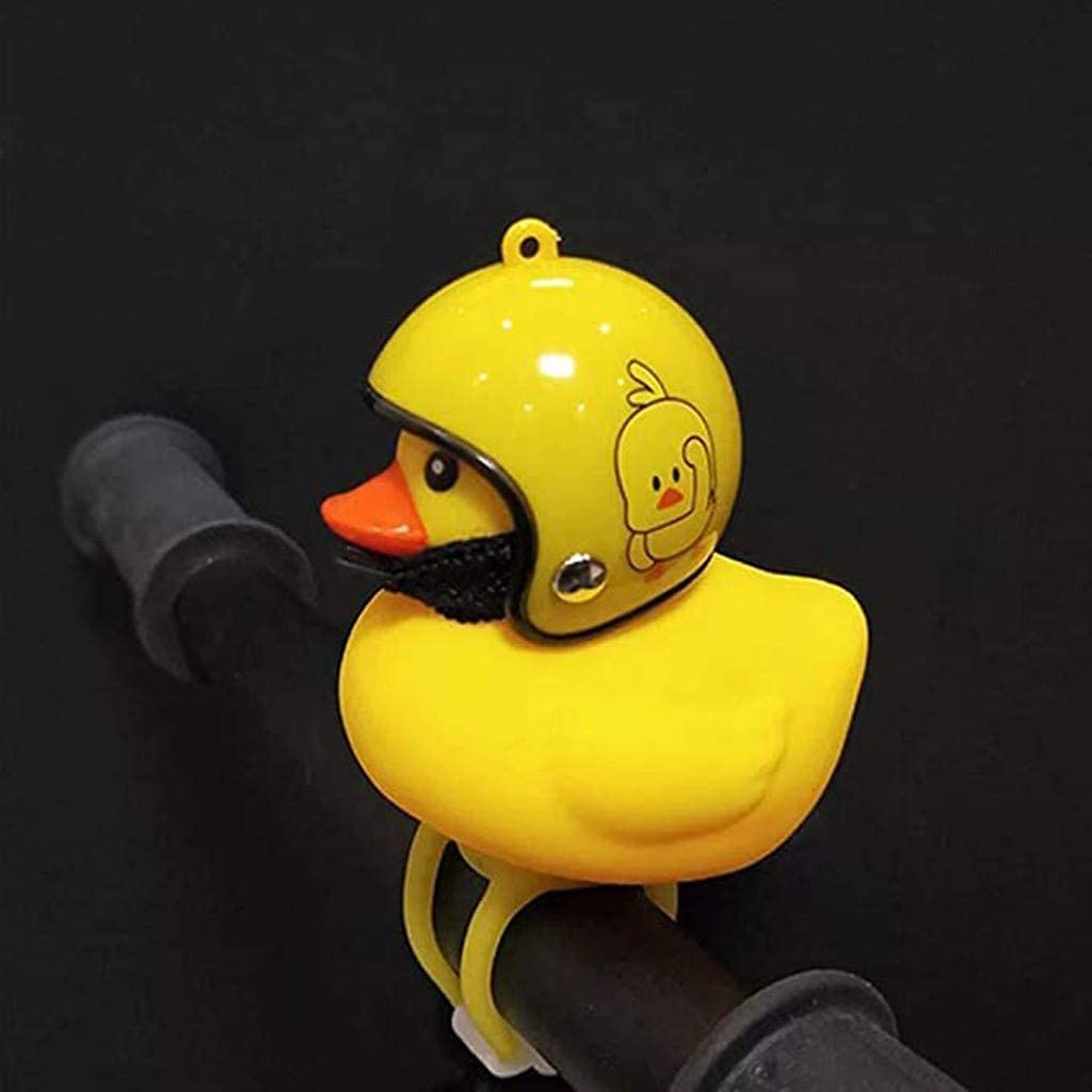 Helmeted Rubber Duck Bicycle Lights Horns Bell Light Accessories Car Ornaments Yellow Duck Car Dashboard Decorations