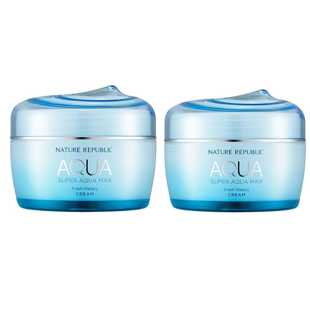 カップ動を除くネイチャーリパブリックスーパーアクア?マックスフレッシュ水分クリーム 油性皮膚 80ml x 2本セット、韓国化粧品 Nature Republic Super Aqua Max Fresh Moisture Cream Oily Skin, 80ml x 2ea, Korean Cosmetics [並行輸入品]