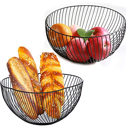 Wire Fruit Basket, Round Black Large Mesh Fruit Dish Basket Bowl, Storage Dish Holder for Kitchen Counter, Bread, Fruit, Snacks, Candy, Vegetables, Households Items(Black, 2 Pack)