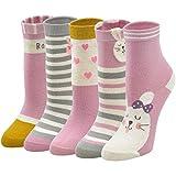 LOFIR Calcetines Divertidos de Algodón para Niñas Calcetines Animales con Dibujos de Perro Gato, Calcetines Vistosos para Chicas de 2-4 Años, Talla 20-22, 5 pares