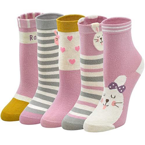LOFIR Calcetines Divertidos de Algodón para Niñas Calcetines Animales con Dibujos de Perro Gato, Calcetines Vistosos para Chicas de 8-11 Años, Talla 31-34, 5 pares