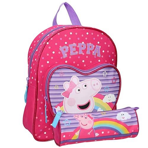 Mochila infantil Peppa Pig para guardería  31 x 25 9 cm  incluye estuche