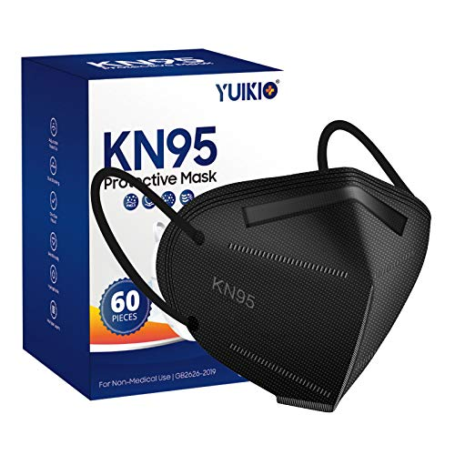 KN95 Face Mask, 60 Pack Cup Protective Masks, Filter Efficiency≥95%, 5 Layers Filter Safety Mask Against PM2.5 Disposable KN95 Respirator Masks in Bulk (Black)