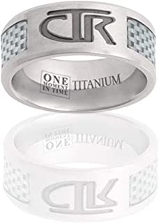 J113w White Titan Titanium Carbon Fiber Inlay Designer Inspired Silver Jewelry Modern Exclusive Sizes 8-13