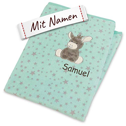 Sterntaler Emmi Decke mit Namen, 100x75, Baby Kinder Plüsch-Decke Einschlagdecke Schmusedecke Babydecke Kuscheldecke