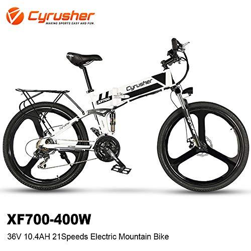 Cyrusher XF700 Electric Bike 400 Watt 21 Speeds Mountain Electric Bike with 36V 10.4ah Battery Folding Bike(White)
