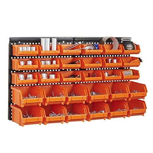 VonHaus 30-teiliges Set Aufbewahrungsboxen mit Wand-Befestigungsplatte