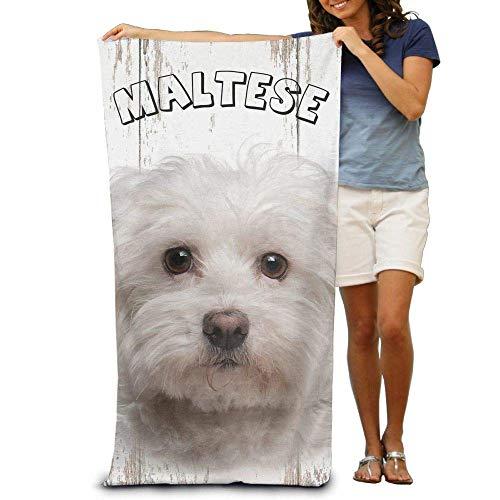 AGHRFH Strandtücher aus Segeltuch, Malteser-Welpen-Motiv, 100% Polyester, großes Handtuch für den Strand, Decke, Zelt, Boden, Yogamatte, 80 x 137 cm, natürlich weich, schnell trocknend