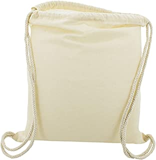 10 x Bolsa Mochila Algodón Natural Con Cordones Tamaño 39