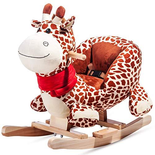 Benedict Rocking Animal Giraffe - Rocking Horse Toy with Backrest Rocker, Children's Rocking Chair, Plush Swing for Children and Baby/Rocking Horse Rocking Toy with Backrest Rocker, Plush Baby Toy