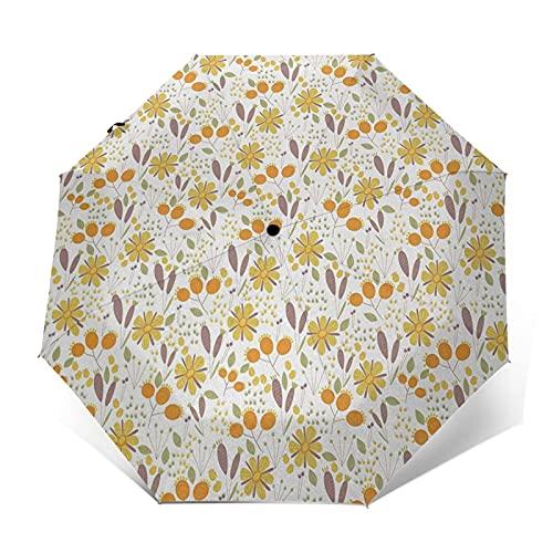 Paraguas Plegable Automático Impermeable Campo Jardinería Ropa De Cama Plantas Casa De Campo, Paraguas De Viaje Compacto Prueba De Viento, Folding Umbrella, Dosel Reforzado, Mango Ergonómico