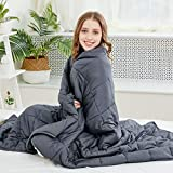 Larvinhom Weighted Blanket for Adults 48''x72'' 20lbs (for 170lbs-230lbs) Twin Size Breathable Heavy Blanket with Glass Beads Breathable Cotton(Grey