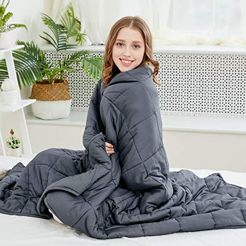 Larvinhom Weighted Blanket for Adults 60''x80'' 20lbs (for 170lbs-230lbs) Queen Size Heavy Blanket with Glass Beads Breathable 100% Cotton(Dark Grey)