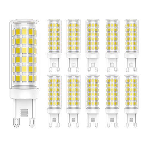 Lampadine LED G9 9W,Equivalente di Lampadine Alogene da 70W,700LM,76x 2835SMD LEDs,Bianca Fredda 6000K,10 Pezzi