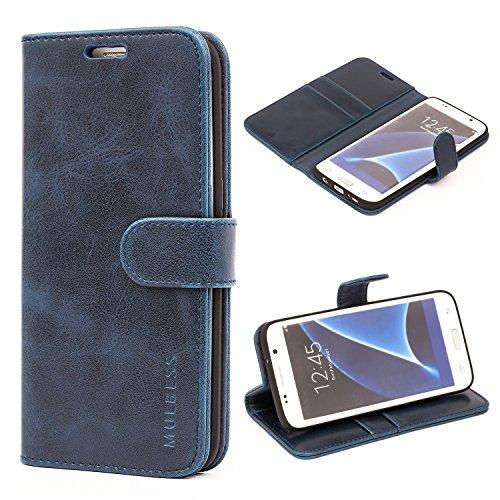 Mulbess Funda para Samsung S7 Edge, Funda Cartera Samsung Galaxy S7 Edge, Funda Libro para Samsung Galaxy S7 Edge con Tapa, Azul Marino