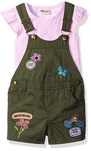 Little Lass Baby Girls' Little 2 Piece Fashion Shortall Set, Olive, 5