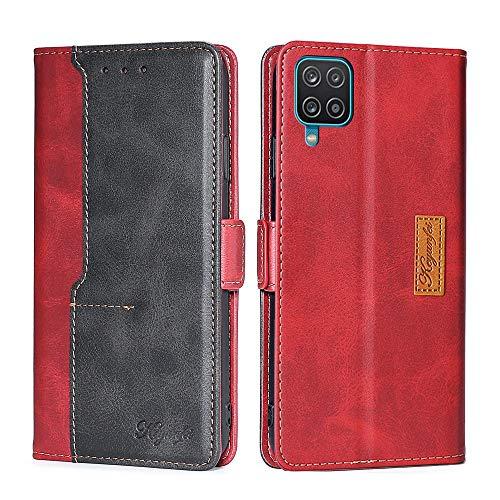 Colel Hülle Kompatibel mit Samsung Galaxy A42 5G,Lederhülle PU Leder Flip Tasche Klappbar Handyhülle Cover Schutzhülle für Samsung Galaxy A42 5G (rot und schwarz)