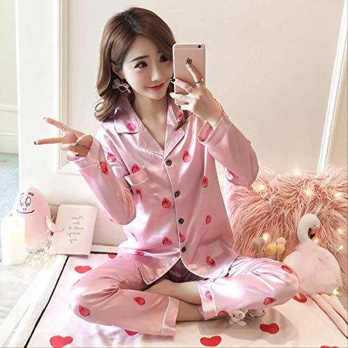 XFLOWR Herbst Frauen Damen Satin Seide Pyjamas Sets Langarm Tops + Hosen Nachtwäsche Mujer Cartoon Nachtwäsche Pyjama Weiblich M rosa