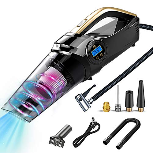 WOLFBOX 4 in 1 Portable Vacuum Cleaner Cordless with Digital Air Compressor Pump,6000PA, Tire Inflator for Car, Auto Shut Off, LCD Digital Display, LED Light, Washable Filters