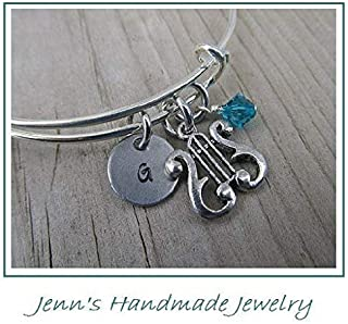 Hand-Stamped Bangle Bracelet Harp charm with your choice of initial and bead