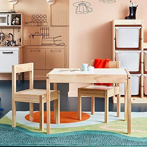 Ikea LATT-Children-s Table with 2 Chairs, White, Pine, Beige