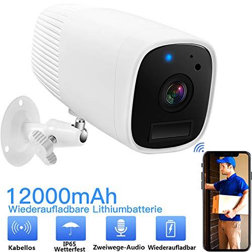 WLAN Kamera Akku Überwachungskamera 1080 HD Kabellose Kamera Mit Zwei Wege Audio,Bewegungserkennung,Infrarot Nachtsicht,Push Alarme,IP65Wasserdichtfür Innen Außenbereich,IP Kamera-BG ANGEL