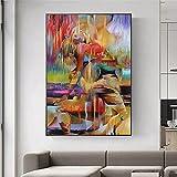 Cuadros Decorativos Mural Graffiti Mujeres Lienzo Pintura Coloridos Carteles artísticos e Impresiones Cuadros artísticos de Pared para la decoración del diseño del hogar de la Sala de Estar