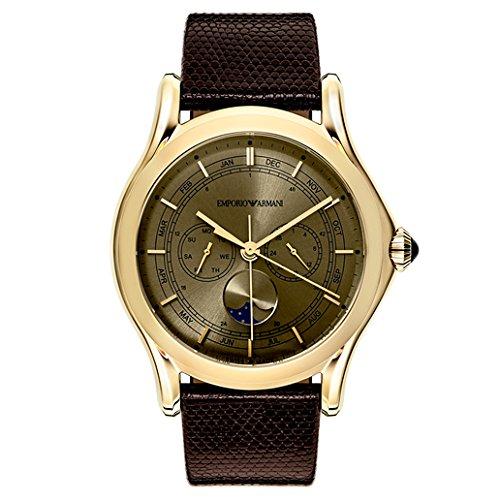 Emporio Armani Swiss Made Herren Armbanduhr Swiss Quarz Edelstahl und Leder Kleid, Farbe: Braun (Modell: ars4203)