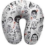 U-Shaped Pillow,Hip-Hop Rap Music Soft Cojín Cómodo para Comodidad Comodidad Viajes