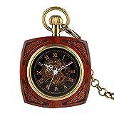 BABYCOW Diseño Creativo Rojo Madera Número Romano Cuadrado Oro Mano Viento Reloj de Bolsillo mecánico Patrón Vintage Reloj Elegante Hueco