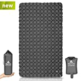 Hikenture Ultralight Double Sleeping Pad for Camping, Portable Waterproof Camping Pad with Pump Sack, Inflatable Comfort Camping Mattress 2 Person, Ripstop Sleeping mat for Backpacking, Hiking