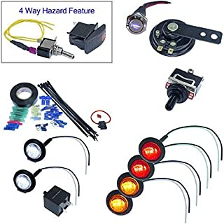 Universal UTV ATV DIY Street Legal Kit Turn Signal System with Horn (Round LED, Toggle Switch)