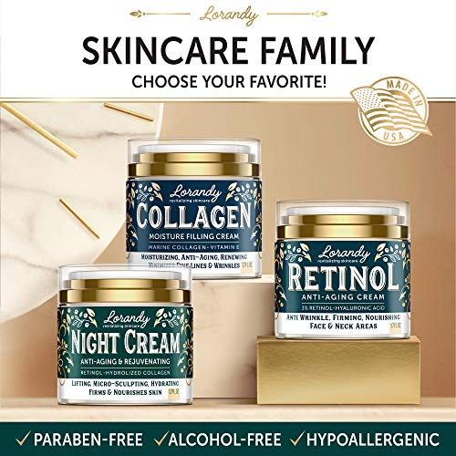 51AdccEuBBL - Night Cream for Face - Collagen & Retinol Cream for Face with Hyaluronic Acid - Anti-Aging Face Moisturizer for Women & Men - Night Wrinkle Cream for Face - Anti Aging Cream for Women - 1.7 fl oz