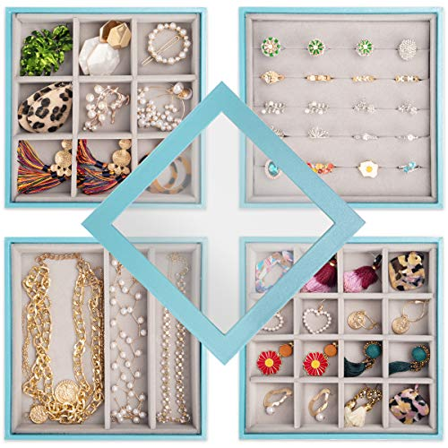 Mebbay Jewelry Organizer Tray, 4 Stackable Trays with Lid Storage Display Case for Dresser and Drawer (Blue)