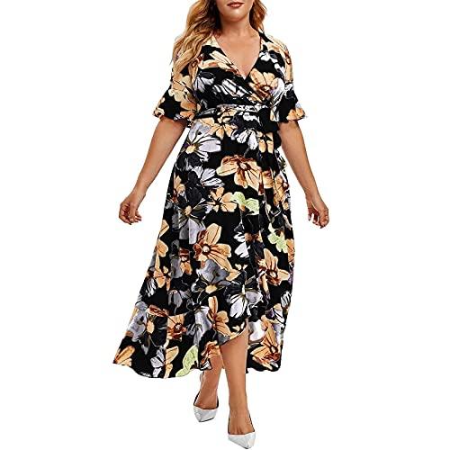 AMhomely Vestido de mujer con cuello en V para mujer, talla grande, sexy, con cuello en V, para fiesta, elegante, talla Reino Unido