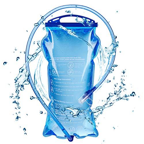 TRIWONDER Poche Hydratation 1,5L 2L 3L Réservoir d'eau Souple Sac d'eau Poche à Eau Vessie d'eau Sac d'hydratation pour Marathon Camping Randonnée Vélo Running (3L)