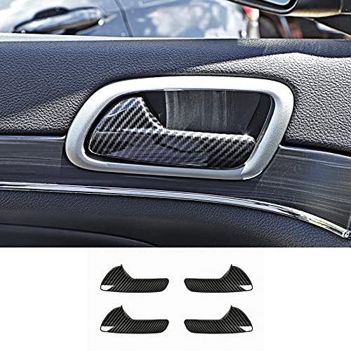 Hoolcar Inner Door Handle Bowl Trim Cover for 2011-2020 Jeep Grand Cherokee, Carbon Fiber