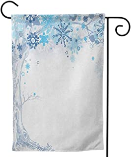 Outdoor Flag, Summer Decorative Double Sided Colorful Design for All Seasons and Holidays Winter Falling Snow Splashes Stains Watercolors Shades of Blue Abstract Christmas Inspired Blue White