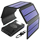 Verano Portable Solar Charger 24000mAh, 5 Solar Panels (Detachable Panel Add-On Included), Waterproof Solar Phone Charger with LED Flashlight and Carabiner and Dual 2.1A USB Output