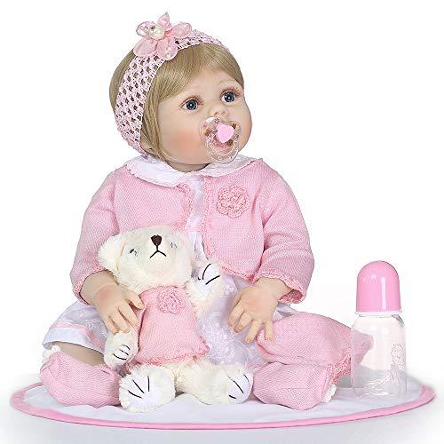 Reborn Baby Girl Puppe 22 Zoll weiche volle Silikon Vinyl Körper Lebensechte Kleinkind Puppe Spielhaus Bad Spielzeug Geschenk für Alter 3 + mit rosa Pullover Plüsch Spielzeug