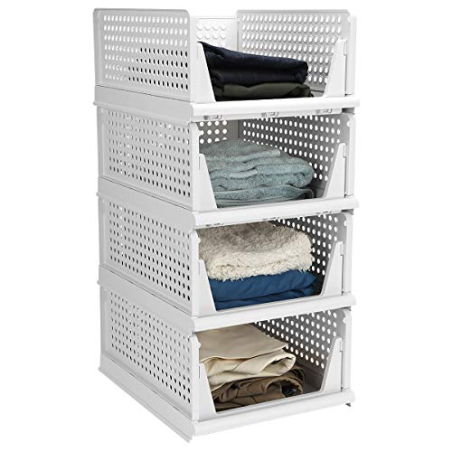 Hossejoy Set of 4 Stackable Wardrobe Storage Box, Plastic Drawer Organizer, Foldable Clothes Shelf Baskets, Folding Containers Bins Cubes, Perfect for Kitchen, Office, Bedroom & Bathrooms(White)